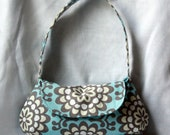 Amy Butler Wallflower Curvy Purse - Blue and Gray Modern Floral Print Small Purse