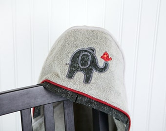 elephant hooded towel childrens towel personalized many colors