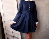 Vintage Wool Navy School Dress