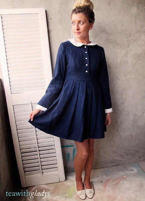 Vintage Wool Navy School Dress