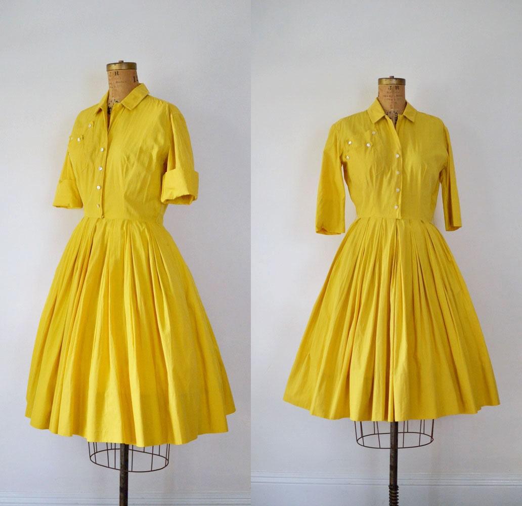 1950s Shirtwaist Dress / 50s Marigold Cotton Dress