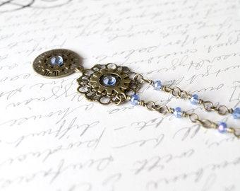 Blue Steampunk Necklace, Watch Gear  Necklace