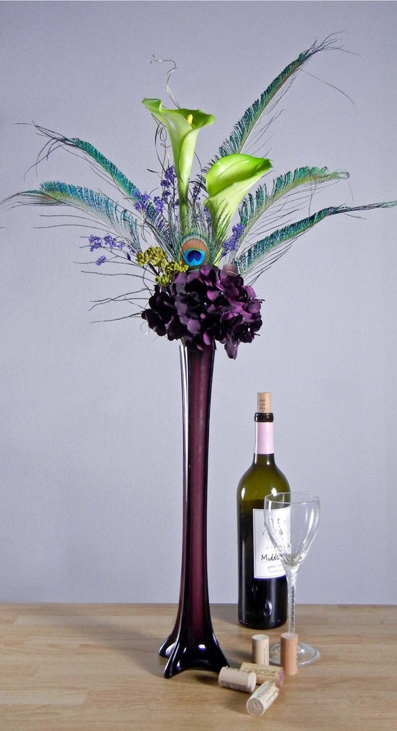 Peacock feathers green calla lilies and purple by rachelsheart