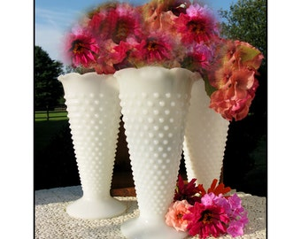 Milk Glass Hobnail Vase/ Wedding Collection/ Shabby Chic Trio