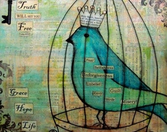 Grace, Hope, Life - John 8:32 - Mixed Media Print on wood