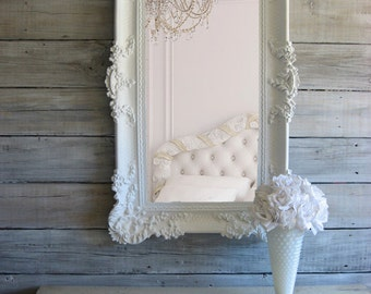 B A R O Q U E, Chic White Mirror  Beach Cottage Ornate Hollywood Decor