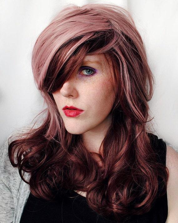 SALE Long Purple wig . Reverse Ombre wig. Pastel Purple Pink Reddish Brown Hair. Wavy Curly Long Sweet Lolita wig. Lavender Plum Delight