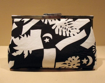 "Black & White Clutch - 8"" geometric black white formal occasion purse bag handmade valentine's day for her"