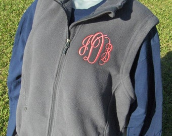 Monogram Fleece Vest with Pockets Zip Up Layering Piece Plus Size Available 3X 4X