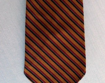 Vintage 60s Tie Necktie Skinny Gold Red Black Striped Silk  Mad Men