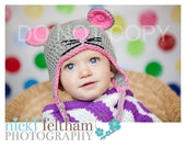 Crochet Mouse ear flap beanie hat in grey and pink