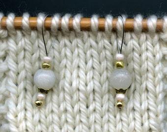 Knitting Stitch Markers, White Jade Semi-Precious Stones, Snag Free, Large Size, Jeweled Tool, Knitting Accessory, Supplies, Handmade, Gift