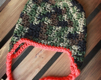 Camouflage Hunting Beanie with Earflaps and Braids