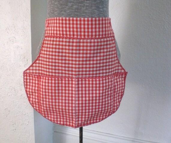 RESERVED Vintage Red Gingham Half Apron