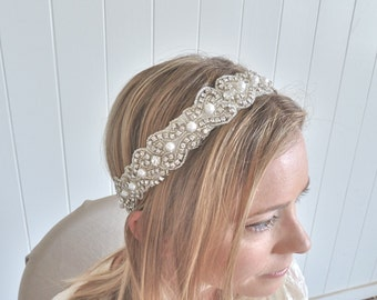 RACHEL with Pearls - Beaded rhinestone and pearl headband, bridal ribbon headband, crystal pearl headpiece - ships in 1 week