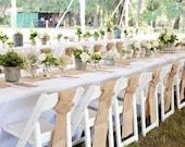 """6 Burlap Chair Sashes - 6"""" x 108"""" - Rustic Wedding Chair Decoration,Rustic Wedding Reception Decoration,Shabby Chic Wedding Chair Decoration"""