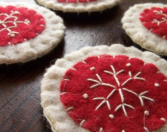 Red and White Wool Felt Snowflake Ornament