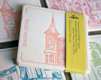 BOISE Coasters,  (Letterpress printed, 3.5 inches) set of 4, perfect gift