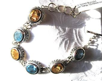 26 Carat total Gemstone Weight 12x10mm faceted Blue Topaz Golden Citrine Bracelet Sterling Silver handmade 6.5 7 7.5 inch wrist fine jewelry