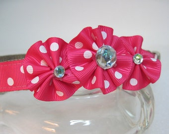 Collars for Canines Dog Collar in BriGht HoT PiNk PoLka DoTs with BliNg Ribbon Collar