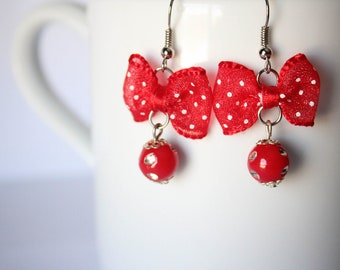Red Bow Sparkly Danty Earrings
