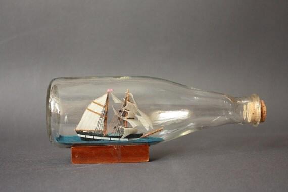 Vintage Ship in a Bottle on Small Wooden Pedestal