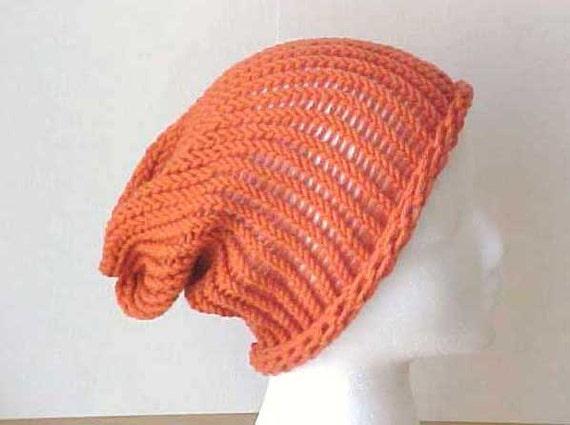 SALE  8 DOLLARS  Pumpkin Blaze Orange Slouchy beanie  /  oversized hat  /  Adult Teen /  Peace Stitch Studio