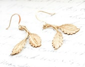 Gold Leaf Earrings Raw Brass Drop Woodland Jewellery Nature Inspired Accessories Modern Tree Branch Dangle Earrings Golden Leaves Christmas