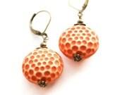 Orange Earrings Rust Pumpkin Round Drop Earrings Lucite Dangle Earrings Polka Dot Earrings Burnt Orange Leverback Earrings Nickel Free