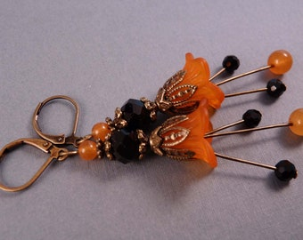 Halloween Earrings Halloween Jewelry Lucite Earrings Beaded Earrings Beaded Jewelry Orange Earrings  Holiday Jewelry Brass Jewelry