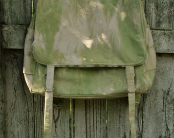 Sturdy canvas adjustable Backpack- custom hand dyed tie-dye- mens womens book back ruck sack travel bag green