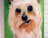 Dog Painting Pet Portrait Acrylic on Canvas 24x30 Yorkie Painting