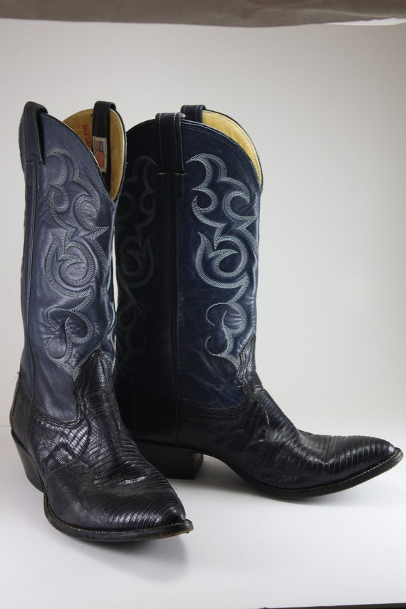 vintage navy blue leather and lizard nocona cowboy boots