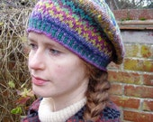 Handknit Fair Isle Zig-Zag and Chevrons Tam o' Shanter (bright colours)