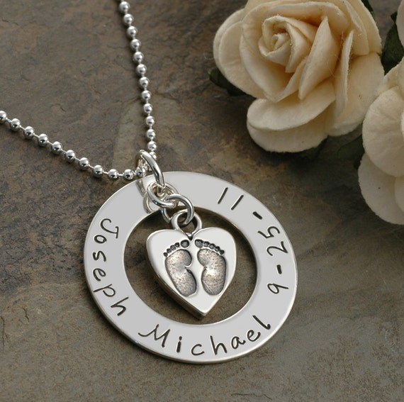 New Baby - Hand Stamped Necklace - Personalized - name and date - Baby Feet in heart charm