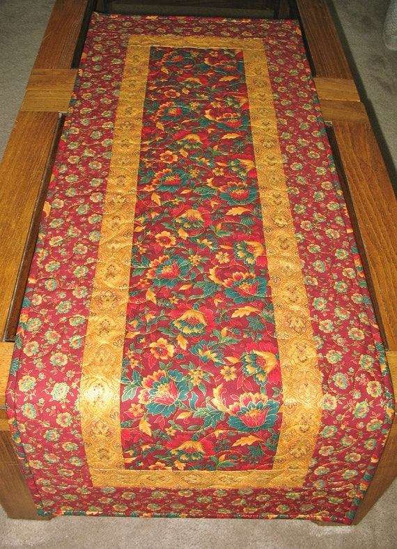Floral Table Runner machine quilted -  fabric from Hoffman