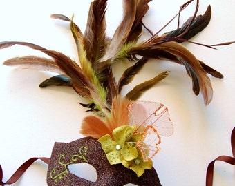 MASK- Espresso Nebula - masquerade mask, Mardi Gras,ballroom, fairy,Venetian, Halloween