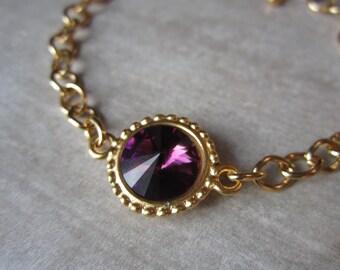 Gold February Birthstone Bracelet, Purple Swarovski Crystal Birthstone Jewelry, Amethyst Bracelet