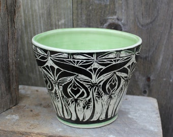 Art Nouveau Sgraffito Black and White and Green Bowl with Floral Motif