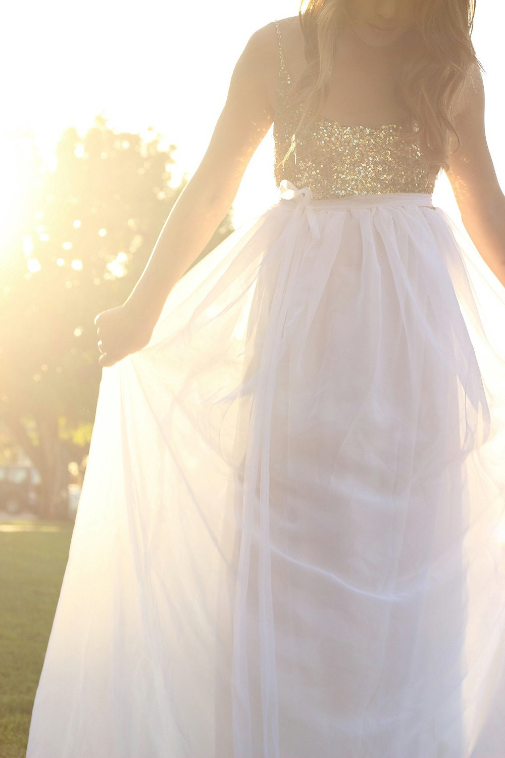 Wedding dress bohemian sequin gold and white by loveraveglia for Best etsy wedding dress shops