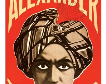 The Man Who Knows - Vaudeville magician Alexander - 13x19 print - Carnival Circus Kitsch poster