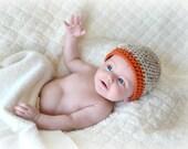 READY TO SHIP Crochet Baby Boy Beanie 0-3 Months Hat Oats/Pumpkin