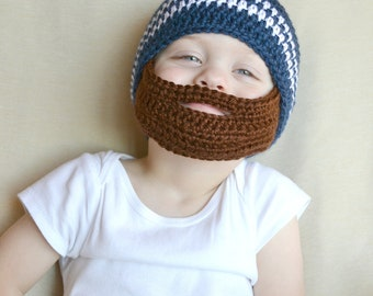 Crochet Baby Boy Beanie with Beard Hat - 3 months to 10 years - Dark Country Blue and White with Chocolate Beard - MADE TO ORDER
