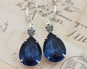 Navy Blue Gray Montana Blue Navy Wedding Jewelry Black Diamond Bridesmaids Earrings Silver Earrings - Clip Ons Available