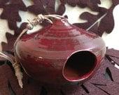 Red Ceramic Bird House