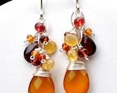 RESERVED for Evelyn -- Sunrise Earrings - Cascading Gemstones in Sterling Silver, Butterscotch Chalcedony, Garnet, Golden Beryl