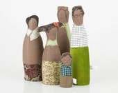 home decor  - Three generations - Grandmother, mother father and Grandchildren , family dressed in shades of green - handmade   dolls