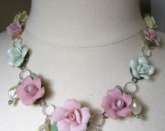 Statement Necklace, Vintage, China Roses, Reclaimed, Rose, Pink, Blush, Green, Cream, Pearls, Flower Power, Ceramic, OOAK,SALE  - Rose Marie
