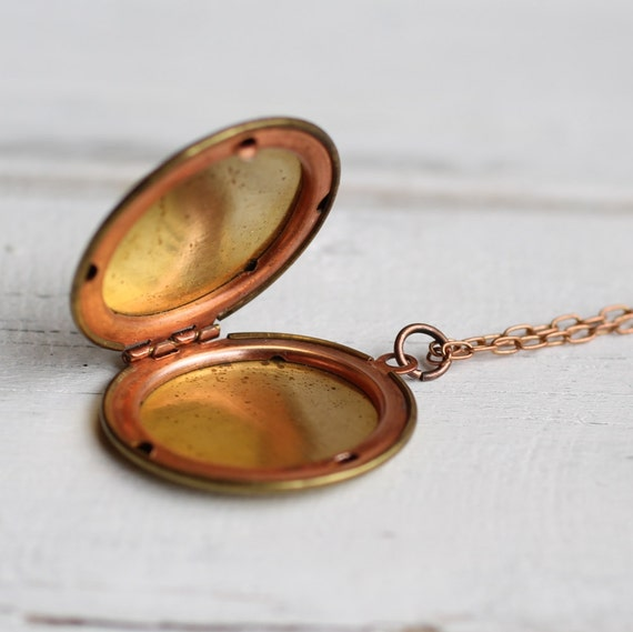 Plain Vintage Locket ... Gold Brass with Copper Inlaid Tarnished Indie Cool