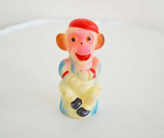 SUMMER SALE Vintage Rubber Monkey Squeaky Toy Made in Japan Red Beret Blue Sweater Black Shoes Fluorescent Pink Face Plastic
